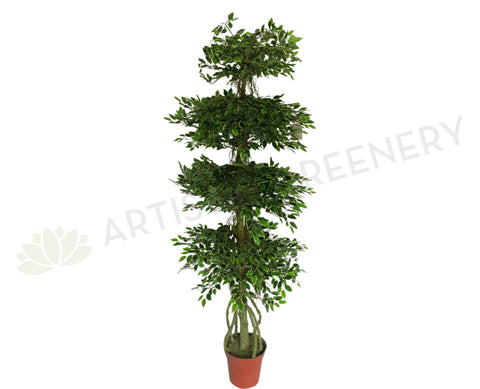 T0073 Ficus Tree 4-Tiers 195cm Real Touch Leaves with white edge