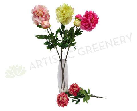 Artificial flowers artistic greenery clearance stock peony spray 86cm 4 colours mightylinksfo