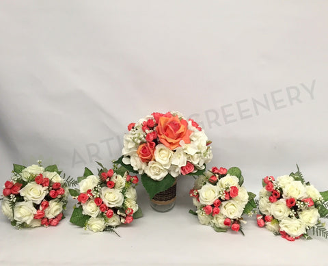 Round Bouquet - Orange & White - Tamara