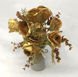Clearance Stock - Rose Bunch 46cm Cream & Gold