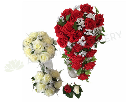 Teardrop Bouquet - Red & White - Tiffany E