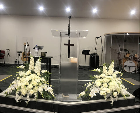 WACCC Church (Caversham) - Custom-made Silk Floral Arrangements for Podium | ARTISTIC GREENERY