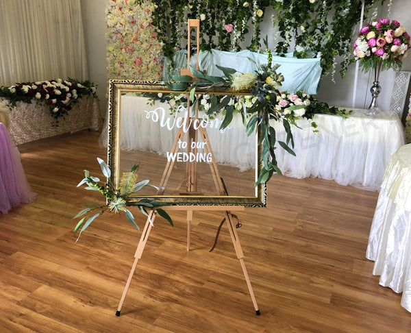 Wedding Hire Welcome Sign Welcome Easel Decorated With
