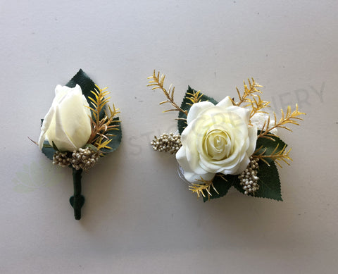 Corsage & Buttonhole - White & Gold - CB0017 - $48/set