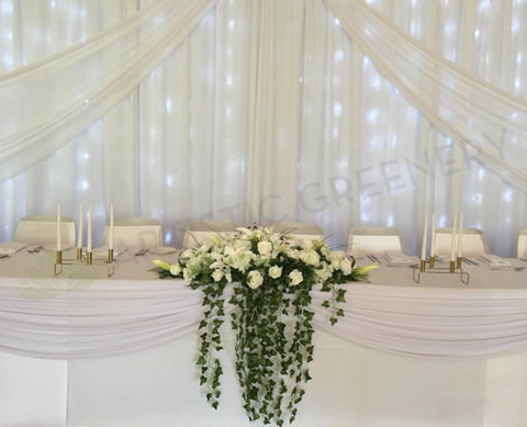 Wedding event hire artistic greenery for hire bridal table centrepiece white 100cm junglespirit Image collections