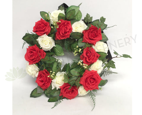 Red & White Rose Floral Wreath 30cm / 40 / 50cm