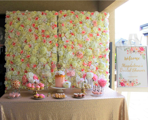 Bridal Shower Backdrop - Pink & White Flower Wall