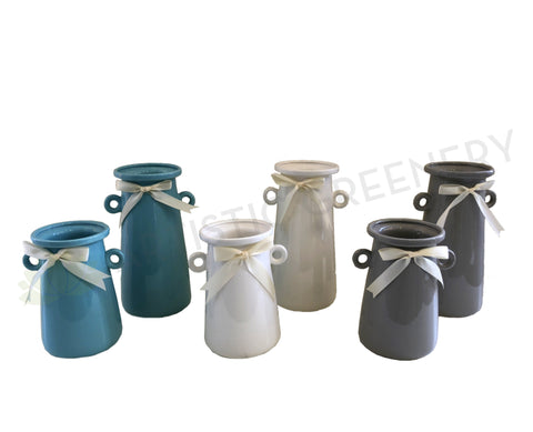 Ceramic Jar with Ribbon Avail in 2 Sizes 3 Colours - (CERJARRIB)