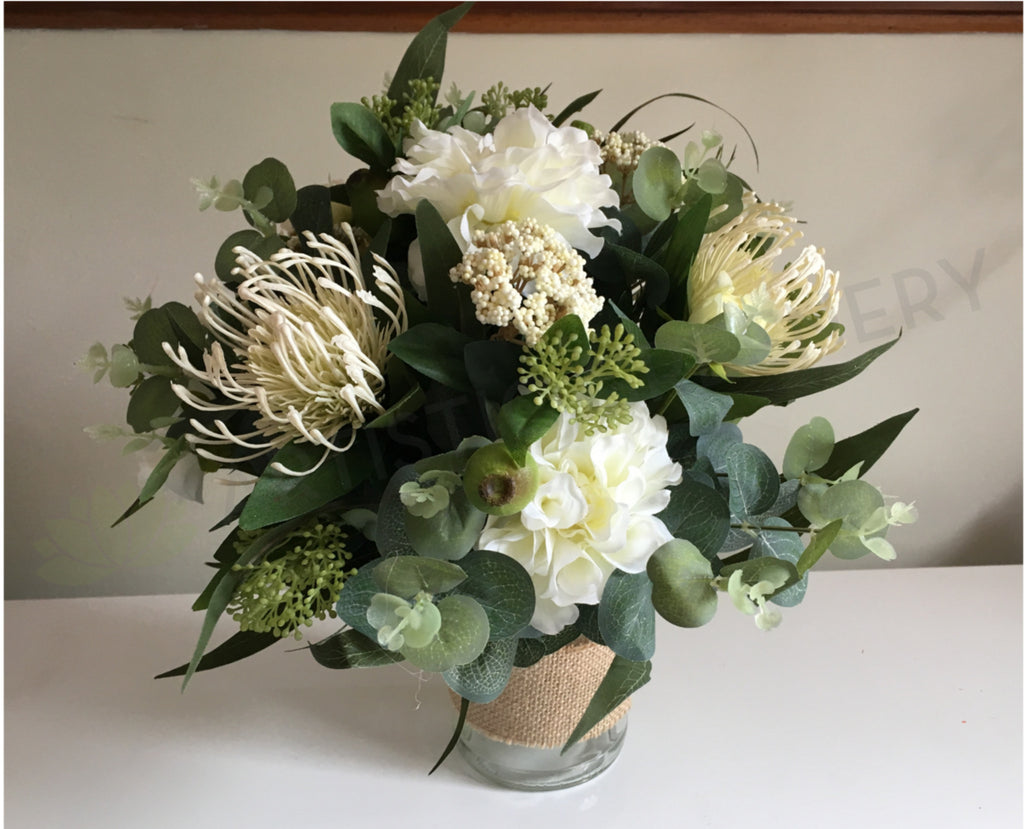 Rustic bouquet with native and eucalyptus leaves silk bouquet wa round bouquet rustic white chenelle izmirmasajfo