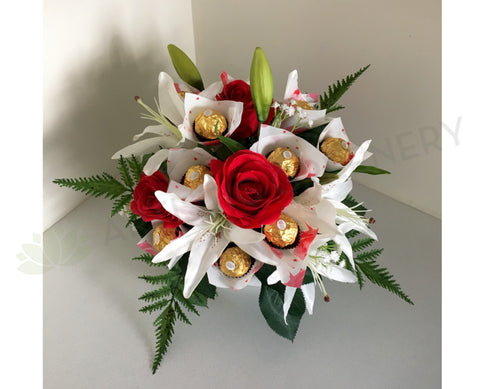 Ferrero Rocher Chocolate & Silk Flowers Arrangement (Gift)