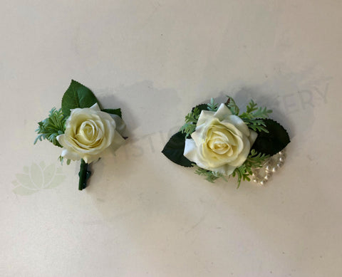 Corsage & Buttonhole - White Rose with Greenery - CB0018 - $48/set
