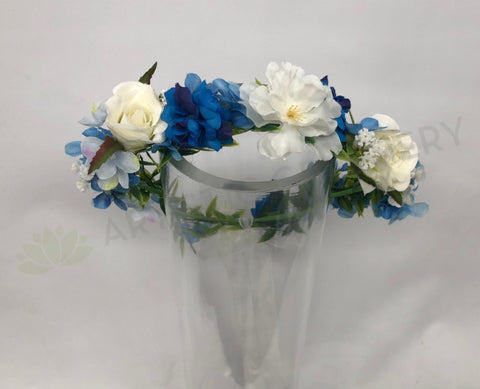 Custom-made Floral Crown - White & Blue - Mary K