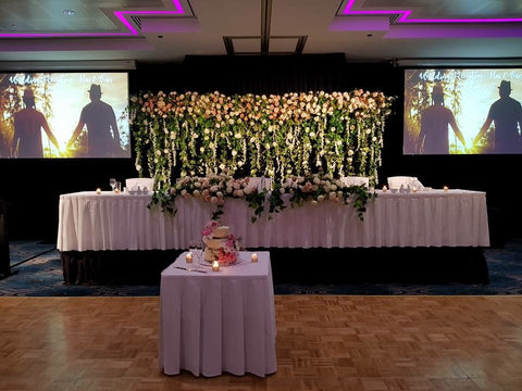 For hire wedding flower curtain backdrop flower canopy flower for hire floral backdrop 300cm wide x 240cm tall junglespirit Image collections