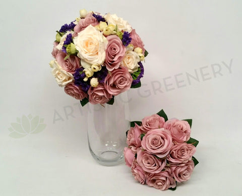 Round Bouquet - Mauve & Cream