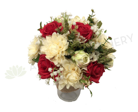 Round Bouquet - Ivory Red Silver - Monique T