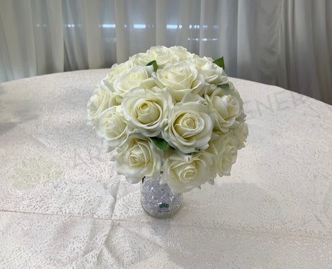 Round Bouquet - White (All Real Touch) - Nadia V