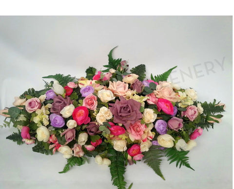 Pink & Purple Long Centrepiece 70cm Long - SYM0005