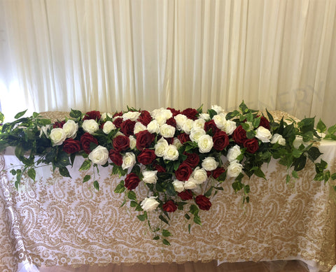 For Hire - Bridal Table Centrepiece (Red & White) 180cm
