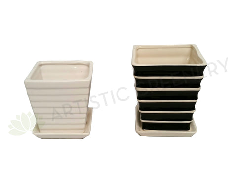 Desktop Size Ceramic Pot - White / Striped Black & White