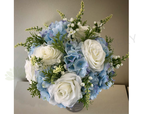 Round Bouquet - Blue & White - Tanya M