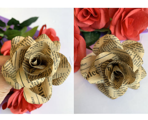 Vintage Paper Flower Stem / Buttonhole (made-to-order)