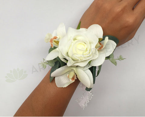 Corsage - White Rose & Orchid