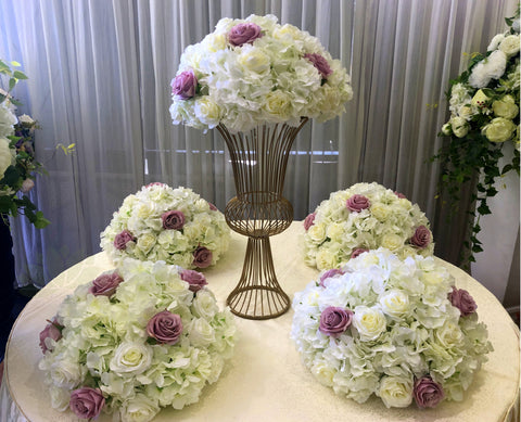 Wedding Table Centrepieces (Semi Sphere) - Dusty Pink & White - Zara