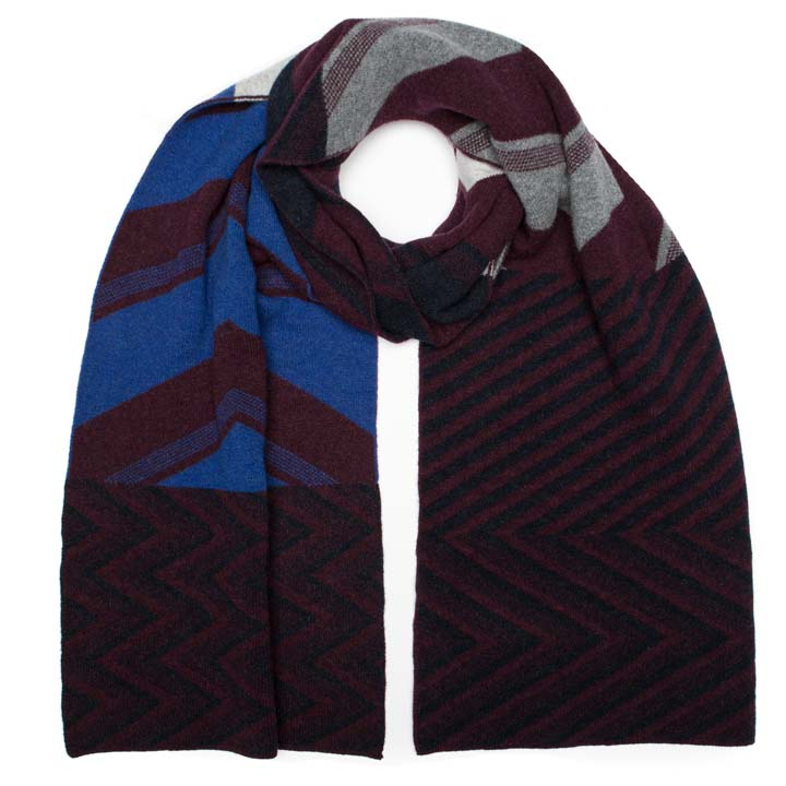 CHEVRON BLANKET SCARF WINTER MIX - GREEN THOMAS