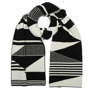 SEMAPHORE BLANKET SCARF BLACK & WHITE - GREEN THOMAS