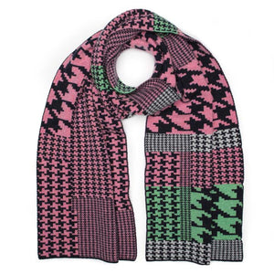 HOUNDSTOOTH BLANKET SCARF SUGAR MIX - GREEN THOMAS