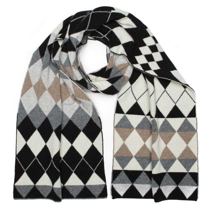 HARLEQUIN BLANKET SCARF MONO MIX - GREEN THOMAS
