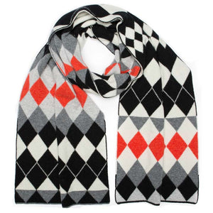 HARLEQUIN BLANKET SCARF BLACK WHITE - GREEN THOMAS
