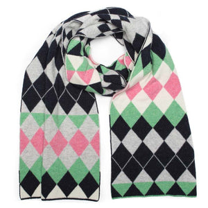 HARLEQUIN BLANKET SCARF SUGAR MIX - GREEN THOMAS