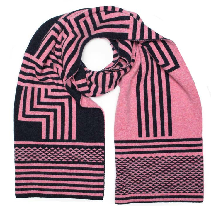 DECO BLANKET SCARF PINK NAVY - GREEN THOMAS