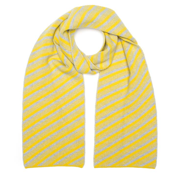 DIAGONAL SCARF YELLOW SILVER - GREEN THOMAS