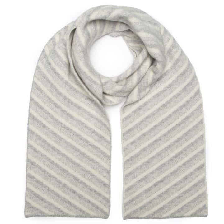 DIAGONAL SCARF SILVER WHITE - GREEN THOMAS
