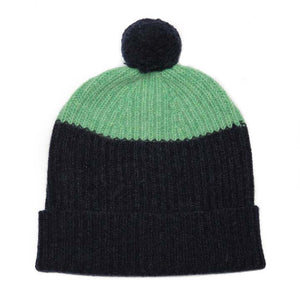 POM HAT NAVY MINT - GREEN THOMAS