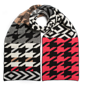 HOUNDSTOOTH BLANKET SCARF HERO MIX - GREEN THOMAS