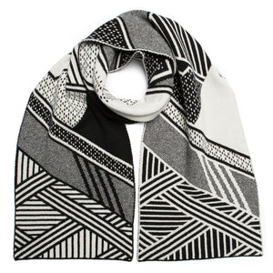 HIGHLAND BLANKET SCARF BLACK WHITE - GREEN THOMAS