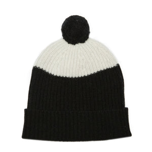 POM HAT BLACK WHITE - GREEN THOMAS