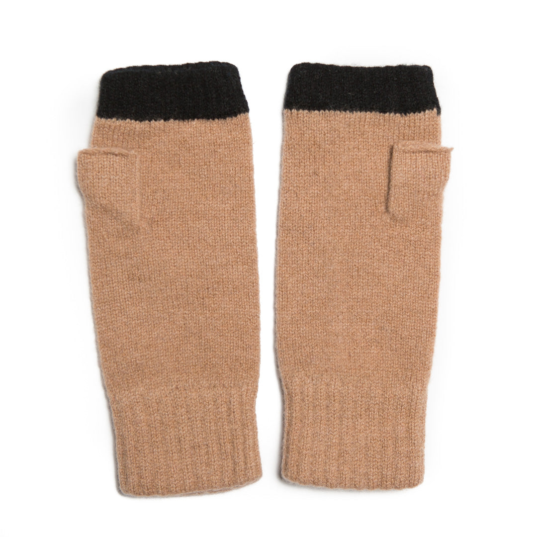 FINGERLESS GLOVE CAMEL BLACK - GREEN THOMAS