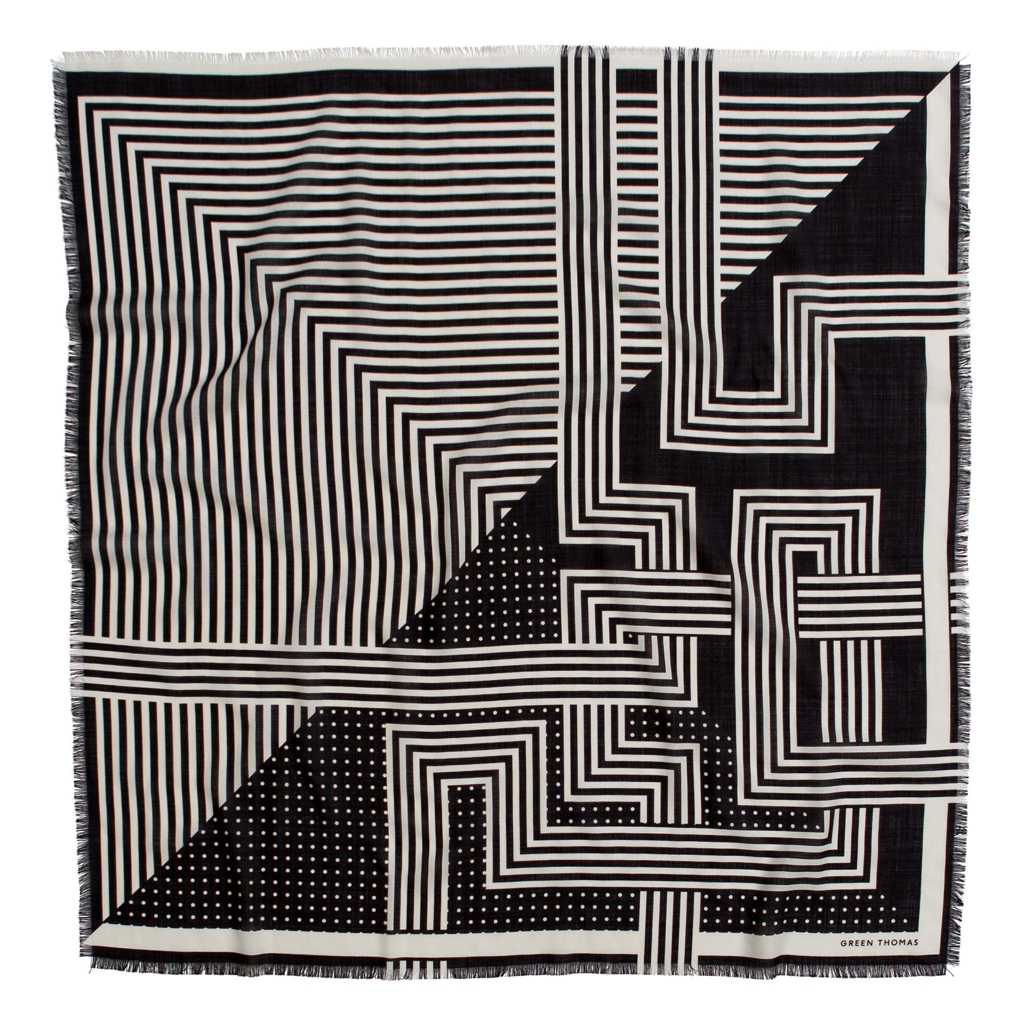 DECO WOOL SILK SQUARE BLACK WHITE - GREEN THOMAS