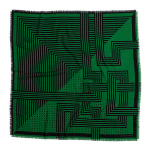 DECO WOOL SILK SQUARE ELECTRIC GREEN - GREEN THOMAS