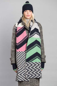 CHEVRON BLANKET SCARF SUGAR MIX - GREEN THOMAS