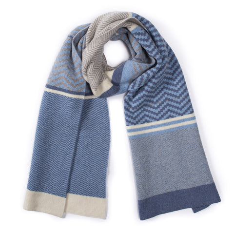 CHEVRON SCARF DENIM MIX