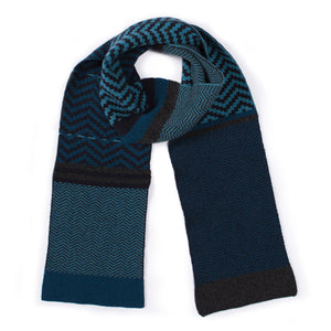 CHEVRON BLANKET SCARF DIESEL MIX - GREEN THOMAS