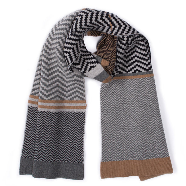 CHEVRON BLANKET SCARF GREY MIX