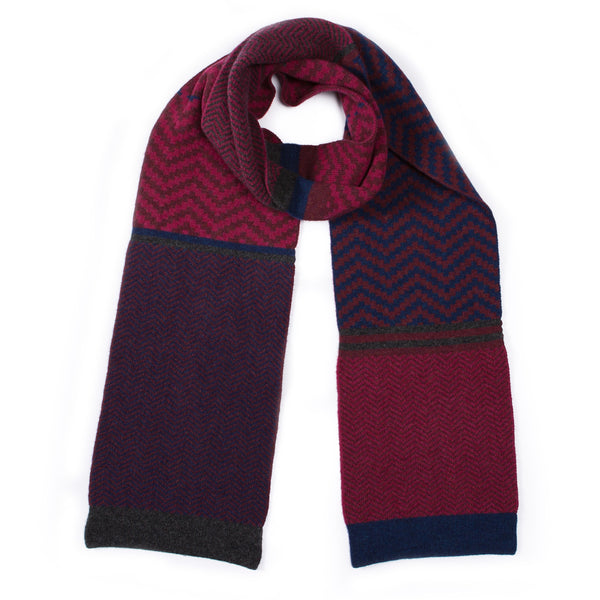 CHEVRON BLANKET SCARF PLUM MIX - GREEN THOMAS