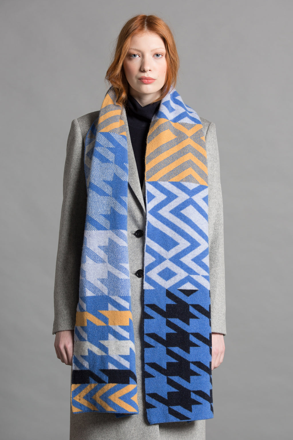 HOUNDSTOOTH BLANKET SCARF NANA MIX - GREEN THOMAS