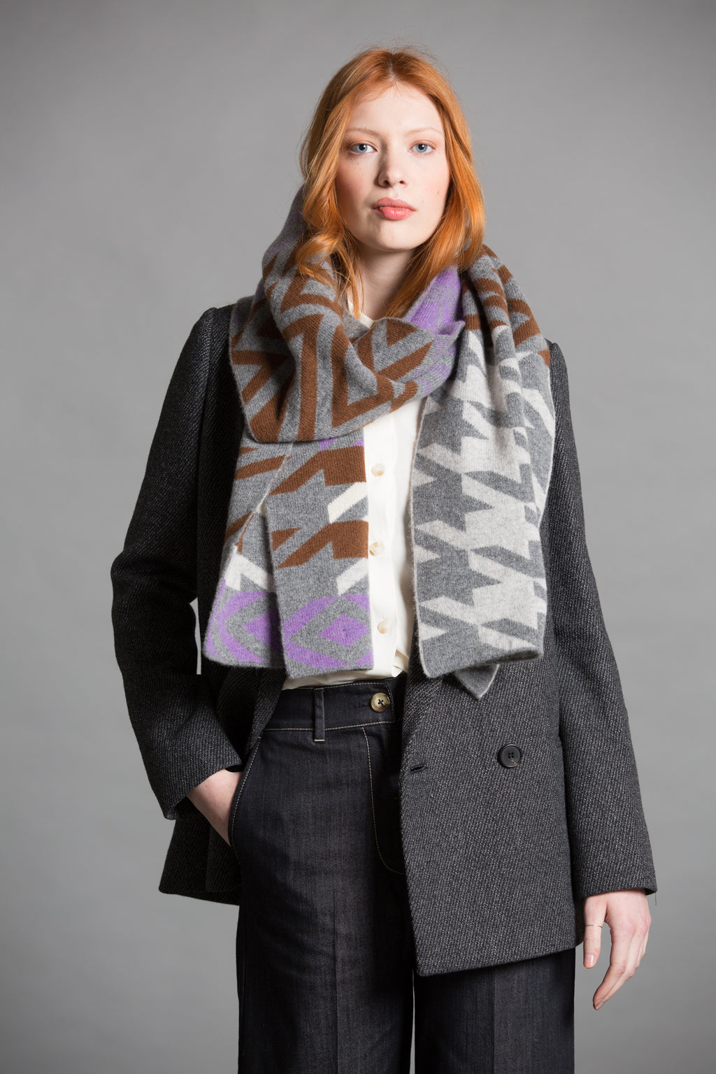 HOUNDSTOOTH BLANKET SCARF SOUL MIX - GREEN THOMAS